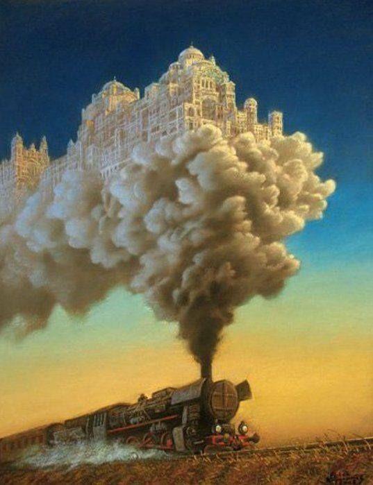 Тесты по картинкам что первым заметили: поезд, город, дым?